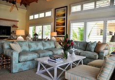 Lighthouse Interiors - tropical - living room - miami - by Lighthouse Interiors Living Room Windows, Living Rooms, Double Window, West Home, Blue Couches, Open Living Area, Tall Ceilings, Coastal Living, Family Room