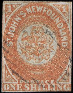"Newfoundland, Scott 15 var, SG 15, 1860, 1s orange Papermaker's Watermark ""STACEY WISE 1858"", showing second ""E"", lightly cancelled, mostly margins, touched at places, ""small tear"" still a fine copy for such a scarce stamp. SG 15; L11,000 for normal ($15,950). (Scott 15 var). Scott $12,000 for normal An incredibly rare stamp. According to Robson Lowe, approximately 5% of the only 1000 copies printed of the 1 sh orange could be watermarked, hence 50 copies. We have found one in the…"