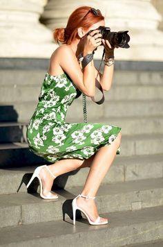 Fabulous!!!  Green Floral Dress,  White Heel Sandal, Red Hair,