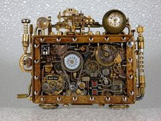 DeviantArt: More Like Steampunk Clock by Chat Steampunk, Design Steampunk, Steampunk Kunst, Style Steampunk, Steampunk Gadgets, Steampunk Clock, Steampunk Cosplay, Steampunk Fashion, Steampunk Cards
