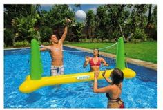 The INTEX Floating Volleyball is a great activity to add to any pool. Complete inflatable volleyball set for the swimming pool. inflatable ball made of vinyl, and repair patch. Jacuzzi, Pool Gadgets, Pool Volleyball Net, Piscina Intex, Pool Garden, Swimming Pool Games, Inflatable Pool Toys, Inflatable Float, Pool Party Games