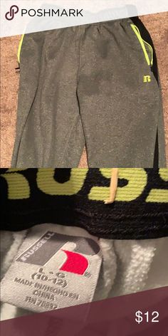 2608ab203 Boys athletic pants Good condition jogging pants. Dark grey with lime green  accents Russell Athletic
