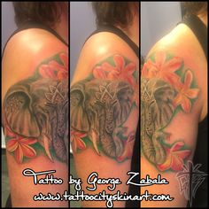 Elephant Tattoo. Hindu Elephant God Ganesh Tattoo. Ganesha Tattoo. Plumera Flowers. Flower Tattoo. Woman's Tattoo. Half Sleeve Tattoo. Color Tattoo. Tattoo by George Zabala. Tattoo City Skin Art. Lockport, IL www.tattoocityskinart.com
