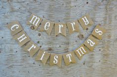 CHRISTMAS BANNER in Burlap Natural Burlap Christmas by nungshee