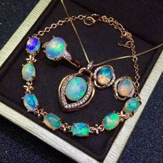 Certified Natural Iron Opal 925 Silver Pendant Ring Earrings Bracelet Set Gifts