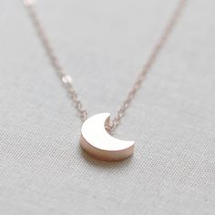 "Moon Necklace in Rose Gold - We think that this ""I love you to the moon and back"" necklace would make a darling Valentines Day gift."