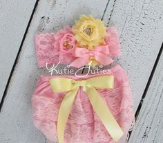 Aqua Lace Diaper Cover Pink Satin rolled bow by KutieTuties
