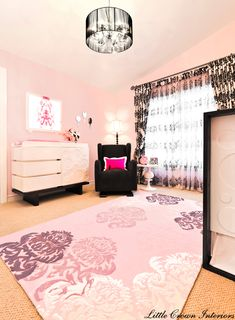 glamorous girls nursery - lurve that rug even if I HATE pink.  I would have yellow to make it unisex and play it safe for adoption :)