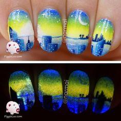Starry night nail art #piggieluv #nailart - bellashoot.com