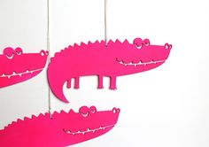 Pink Crocodile kids room playroom wooden decor by BotanikaStudio