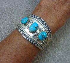 ON SALE!   47g Old Pawn Vintage Navajo Sterling Silver Cuff Bracelet w Pretty Morenci Turquoise Cabochons! Hand Wrought w Great Details!