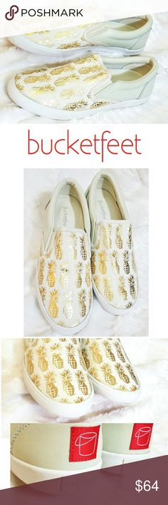 Bucketfeet Pineapple PineappleAdeLeather Slip On PineappleAde EmbossedLeather Slip-On  The most unique and pretty sneakers you'll ever wear! Designed by DJ Lu. Removable sole and comfort bubbles! These guaranteed conversation starters showcase your creativity in the most comfortable way possible.  Super clean inside and out..zoom in!  Worn a few times inside. Brand says true to size, but I think a half size larger would be a better fit. Bucket Feet Shoes Sneakers