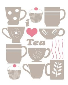 Items similar to I HEART TEA in beige/mocha brown and pink or choose your own colors colours on Etsy Coffee Time, Tea Time, Decoupage, Illustrations Vintage, Tea Quotes, Cuppa Tea, Tea Art, My Cup Of Tea, Mug Rugs