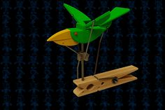 Craft Stick Crafts, Diy And Crafts, Crafts For Kids, Arts And Crafts, Bird Puppet, Kinetic Toys, Mechanical Art, Marionette, Wooden Projects