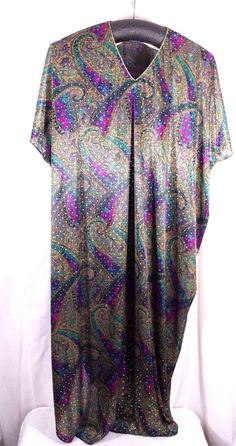 4ad2144277d Vtg David Brown for Dillards Caftan One Size Paisley Gold Paint Bling  Polyester  DavidBrown