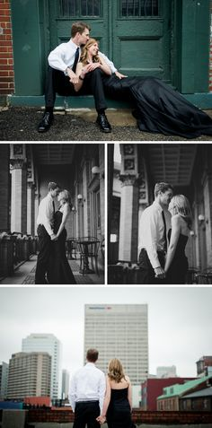Downtown #engagement #photos with Monique Lhuillier gown