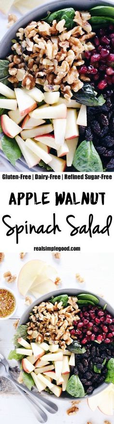 This apple walnut spinach salad is a great way to make lunches during the week a breeze by adding your favorite proteins to make it a complete meal! Paleo, Gluten-Free, Dairy-Free + Refined Sugar-Free. | realsimplegood.com Dairy Free Recipes, Whole Food Recipes, Vegetarian Recipes, Healthy Recipes, Gluten Free, Ketogenic Recipes, Lunch Recipes, Breakfast Recipes, Healthy Salads