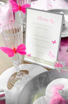 Réaliser un Menu individuel pour chaque invité à votre Mariage dans un esprit romantique avec du masking tape et une envolée de papillons perforés.