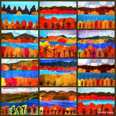 PAINTED PAPER: Lake George NY Landscapes. Teach foreground, middle ground, background.