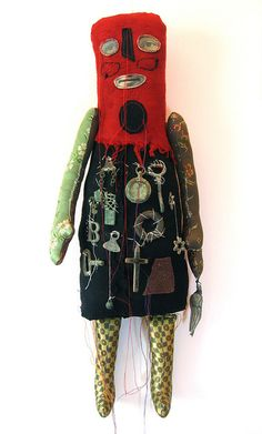 Doll by Cecile Perra Textiles, Weird Toys, 3d Figures, Monster Dolls, Sewing Art, Assemblage Art, Little Doll, Soft Dolls, Outsider Art