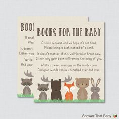 Woodland Baby Shower Bring a Book Instead of a Card Invitation Inserts - Instant Download - Woodland Baby Shower Neutral - 0010