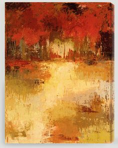 Reds, oranges, holds abstract fall / autumn leaves painting