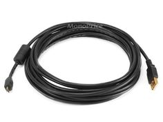 Monoprice 15ft Gold Plated 28/24AWG USB 2.0 A Male to 5pin micro-B Male Cable w/ Ferrite by Monoprice. $5.47. The USB Micro B has started to be adopted as the new universal standard connector used by many cell phone and small electronic device manufacturers.  It can be found on many of the newest phones by Motorola, RIM (Blackberry), Palm and Kyocera among others. This cable is a premium version and is designed and manufactured to meet USB specifications to ensu...