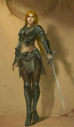 f Ranger Med Armor Sword urban city street lwlvl Warrior Girl, Fantasy Warrior, Fantasy Rpg, Medieval Fantasy, Fantasy Artwork, Warrior Princess, Warrior Women, Dnd Characters, Fantasy Characters