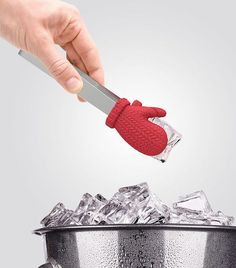 Mitten Ice Tongs - The perfect way to serve frosty ice cubes, wearing mittens of course!