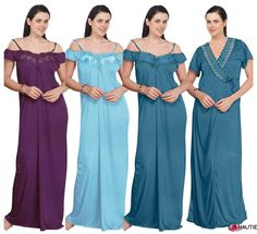 LADIES LONG NIGHTIE WOMENS NIGHTWEAR SET SATIN OFF SHOULDER GOWN 2 PC SET