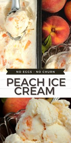 This is the perfect no churn peach ice cream recipe for those fresh peaches that you've been picking up at the farmer's market!No Eggs in this ice cream recipe Peach Ice Cream Recipe, Ice Cream Recipes, Easy Dinner Recipes, Easy Meals, No Churn Ice Cream, Cookie Desserts, Disney Food, Peaches, Favorite Recipes