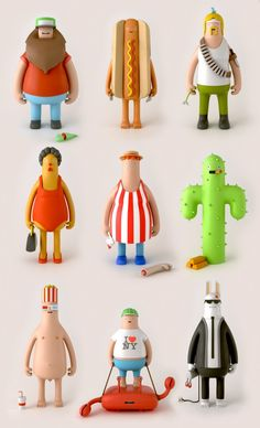 These beautiful designed vinyl toys are coined the yum yum Heroes and Villians. You can see the entire collection of design and illustrations here check out the cool video . Bühnen Design, Level Design, Toy Art, 3d Figures, Vinyl Figures, Vinyl Toys, Vinyl Art, Character Concept, Character Art