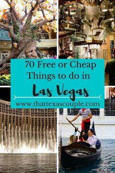 Planning a trip to Las Vegas? Don't miss our list of 70 Free or Cheap Things to do in Las Vegas! #lasvegas #budgettravel #visitlasvegas #lasvegasforcheap #couplestravel #vegas