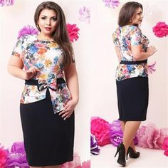 899508cd37d Elegant summer women dresses 2017 new plus size women clothing printed  floral dress casual o-neck 2 piece bodycon sets