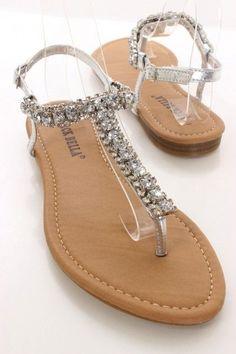 Silver Rhinestone Accent Slingback Sandals