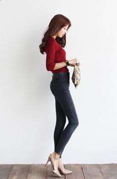 Who needs shorts when you have jeans that fit? Add a pair of heels (or flats) and a bright color.