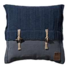 Pillow 50x50 - 6x6 Rib VZ jeans by Knit Factory www.knitfactory.nl