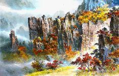 (North Korea) Mt Geumgang by Lee Jeong-chan (1948-  ).