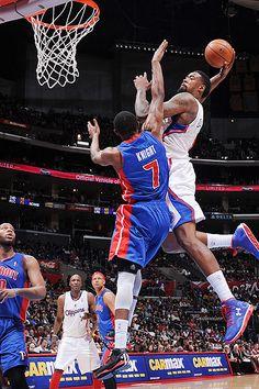 Los Angeles Clippers' center DeAndre Jordan's dunk over Detroit Pistons guard Brandon Knight