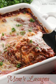 Mom's Lasagna ~ Delicious, Homemade Lasagna Layered with a Homemade Sauce, Lasagna Noodles and Hamburger! Just like Mom makes!
