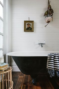 The beautiful bathroom with black claw foot bath at Captain's Rest, a little sha. The beautiful bathroom with black claw foot bath at Captain's Rest Shiplap Bathroom, Mold In Bathroom, Bathroom Interior, Small Bathroom, Bathroom Ideas, Bathroom Canvas, Clawfoot Tub Bathroom, Cosy Bathroom, Shower Ideas