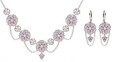 Necklace and Earrings Multi Flower Set by Lucia Costin with Lilac Swarovski Crystals and Falling Chains Adorned with Lace Accents 4 Petal Flowers and 3 Stones Dangle 925 Sterling Silver -- Continue to the product at the image link.