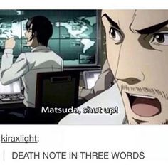 Matsuda was literally my favorite character from Death Note ever Matsuda fue literalmente mi personaje favorito de death note ♡ Death Note Funny, Death Note デスノート, Full Metal Alchemist, Manga Anime, Anime Meme, Blue Exorcist, Sword Art Online, Manhwa, Baka To Test