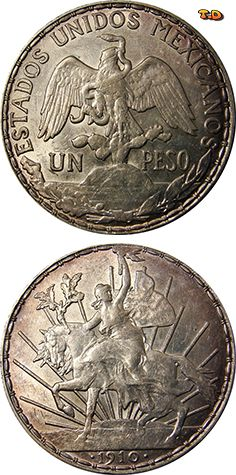 N♡T. Mexico: Peso 1910-1914 Caballito Years Minted: 1910-1914 Composition: 90.3% Silver Diameter: 39 mm Weight: 27.07 grams (.7859 oz of silver) Total Series Mintage: 8,365,000