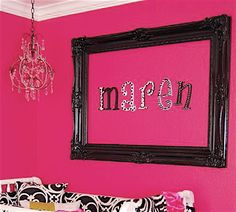 love this idea,, this is callie's pink room, with zebra stipes... humm wonder if i could do that??