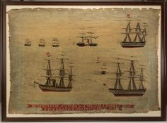 "ENGLISH ""WOOLIE"" NEEDLEWORK PICTURE, wool on linen, depicting a total of nine ships, two steam-powered, with banner inscribed "" HMS HOGUE. T..."