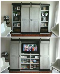 Farmhouse entertainment center barn door table built in with doors shanty 2 chic hardware kit ana . quick view barn door entertainment center ana white p . Ana White, Entertainment Center Kitchen, Entertainment Room, Entertainment Products, Modern Country, Rack Tv, White Barn, Tv Cabinets, Kitchen Cabinets