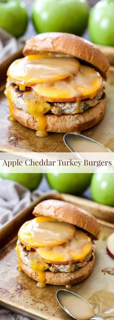 Apple Cheddar Turkey Burgers – Recipe Runner Say goodbye to dry, flavorless turkey burgers and hello to these juicy Apple Cheddar Turkey Burgers! Sliced apples, cheddar cheese and maple dijon mustard are the perfect sweet and savory toppings! Turkey Burger Recipes, Ground Turkey Recipes, Hamburger Recipes, Ground Turkey Burgers, Grilling Recipes, Cooking Recipes, Healthy Recipes, Apple Recipes Savory, Apple Recipes Dinner