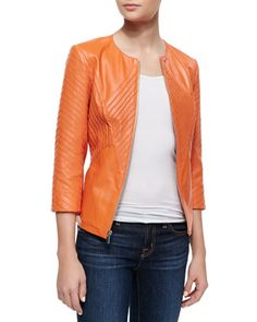 Ribbed Leather Jacket, Orange by Neiman Marcus at Neiman Marcus.