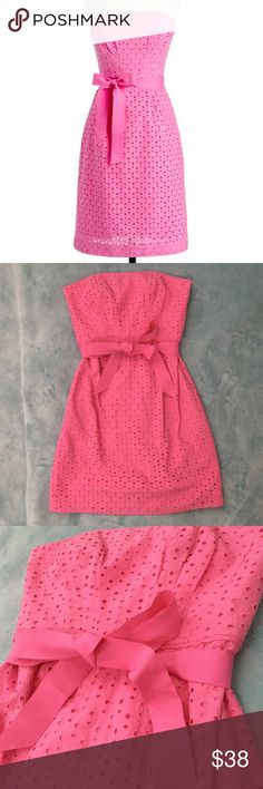 J. Crew Jessie Dress in Eyelet pink strapless Beautiful dress in size 2.  Dress has belt, interior lining, interior top zipper and clip for chest, interior boning for dress structure, and back zipper/hook and eye closure. Item is in excellent condition with no holes, rips, or flaws! Please check out my other listings as I do offer a bundle discount, I love all offers! J. Crew Dresses Midi